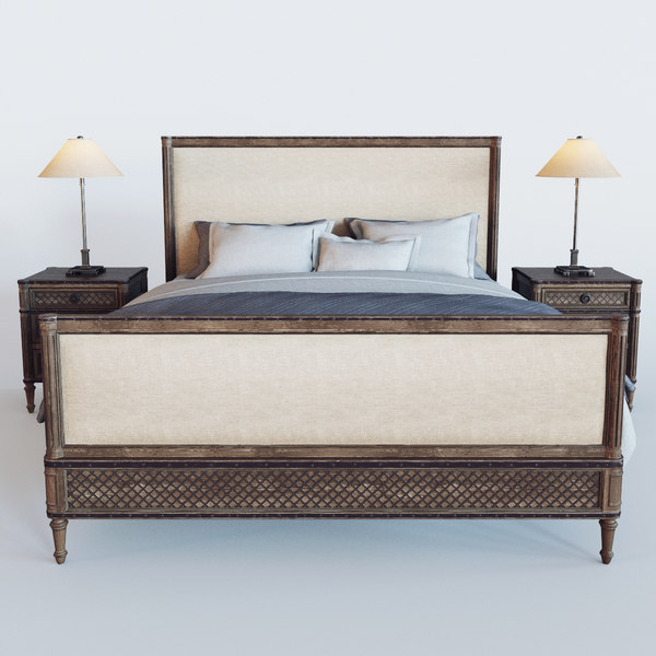 3D treillage louis xvi bed model