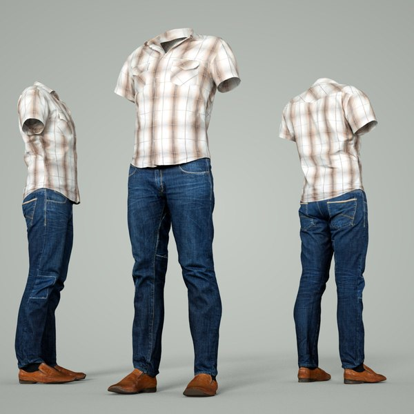 3D male clothing outfit model