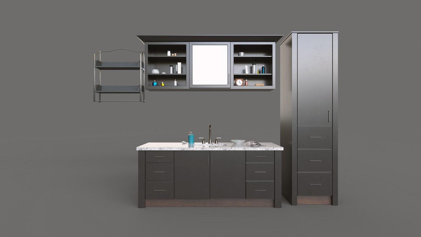 3D dark modern bathroom set model