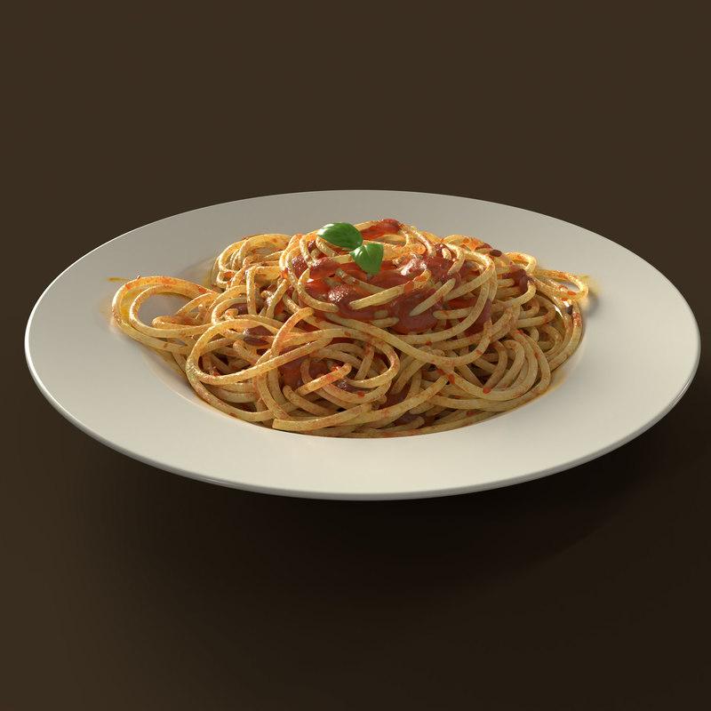 3D spaghetti pasta food