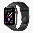 Apple Watch 4 Series Space Gray Aluminum Case with Black Sport Band 5