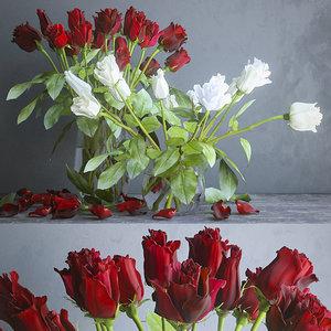 red roses white 3D model