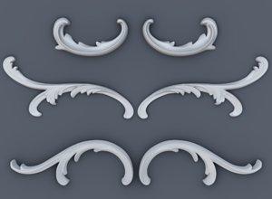 3D volute baroque