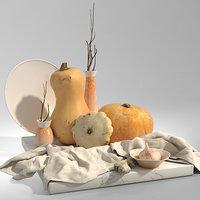 3D set pumpkins garlic ginger model