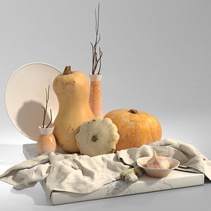 3D set pumpkins garlic ginger model