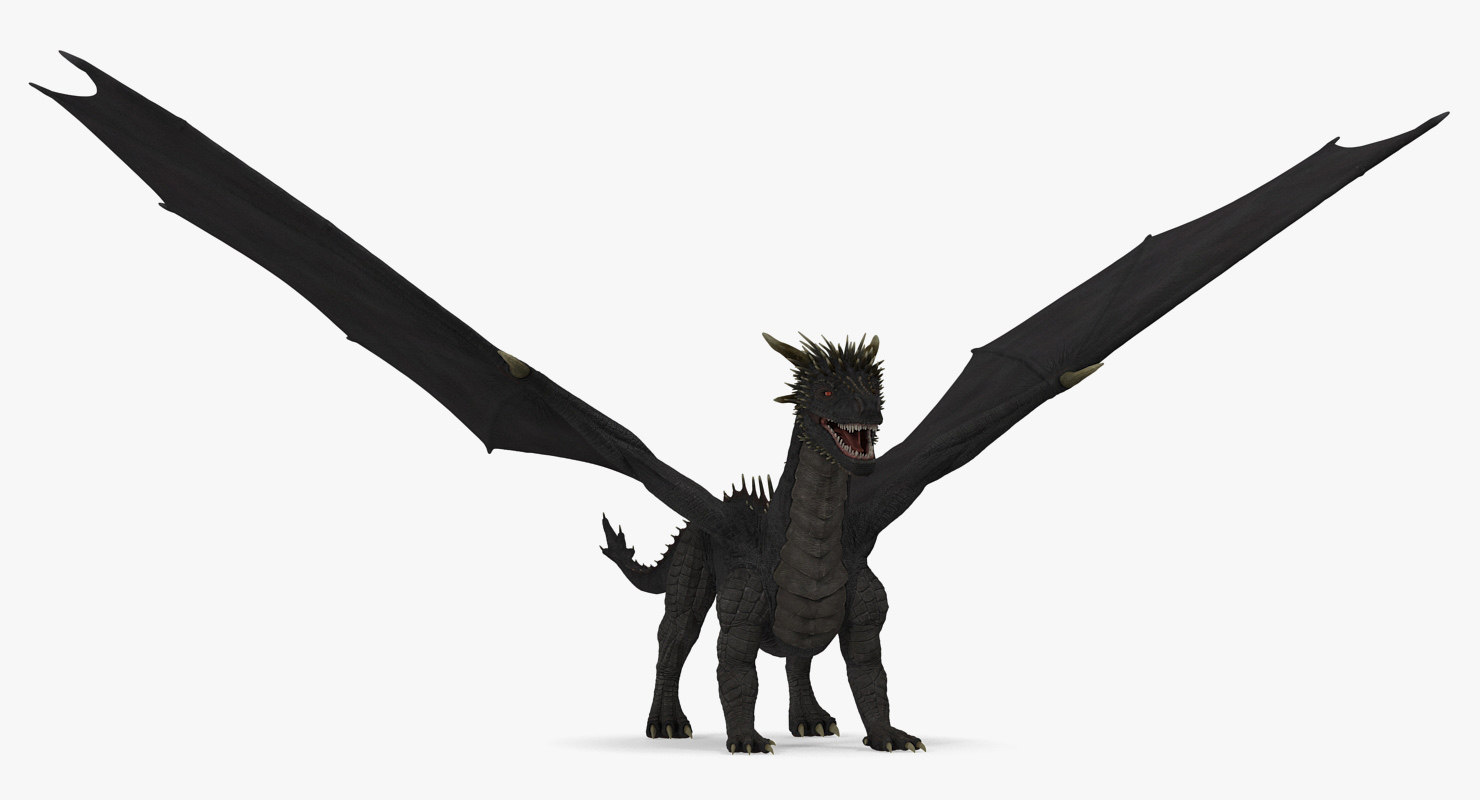 3D black mythical dragon model