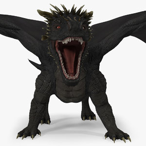 dragon attacking pose 3D model