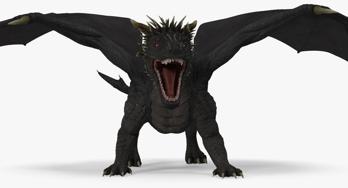 dragon attacking pose 3D model