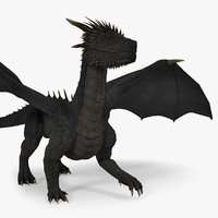 3D mythical black dragon walking model