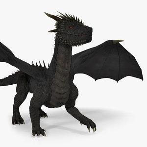 3D mythical black dragon walking model