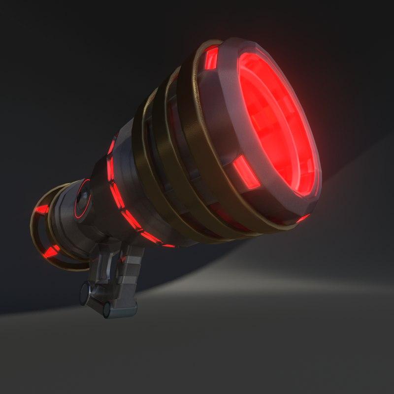 3D futuristic ionic gun model
