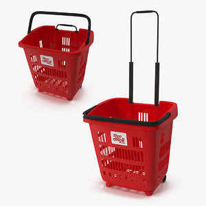 plastic roll shopping basket 3D model