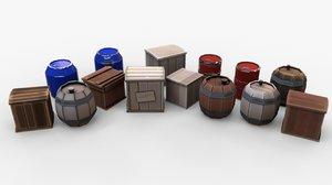 3D box barrel cartoon pack