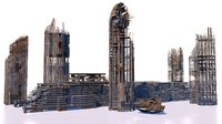 3D model buildings skyscrapers ruins