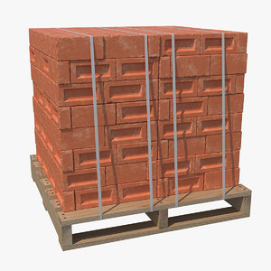 3D red bricks stacked wooden pallet
