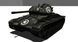 tank wwii m24 3D model