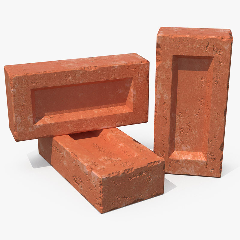 various red bricks 3D model
