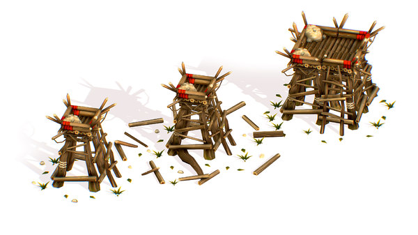 handpaint cartoon wooden building 3D model
