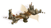 3D handpaint cartoon stoned wooden bridge model