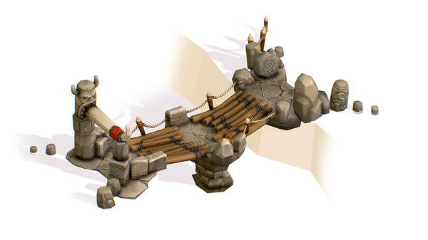 3D handpaint cartoon stoned wooden bridge model