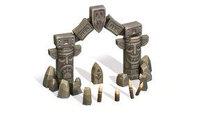 handpaint cartoon stone arch model
