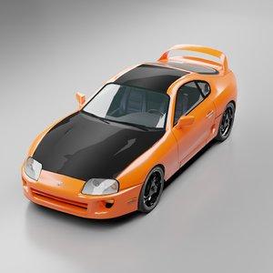 low-poly toyota supra car racing 3D model