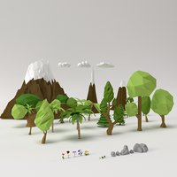 Low poly Trees Flowers Grass Rocks Clouds and Mountains