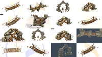 3d Assets buildings structures prehistoric symbols totems 3D Model Collection