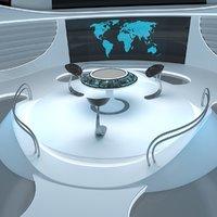 3D sci-fi futuristic control room model