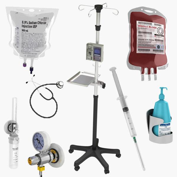 3D medical equipment syringe model