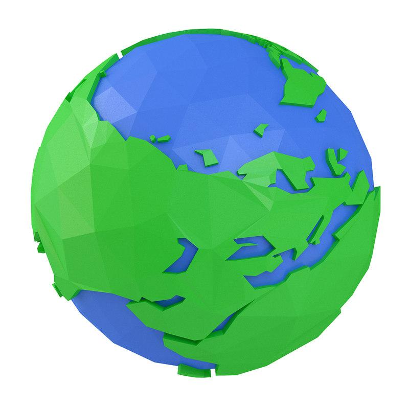 3D model earth cartoon toon