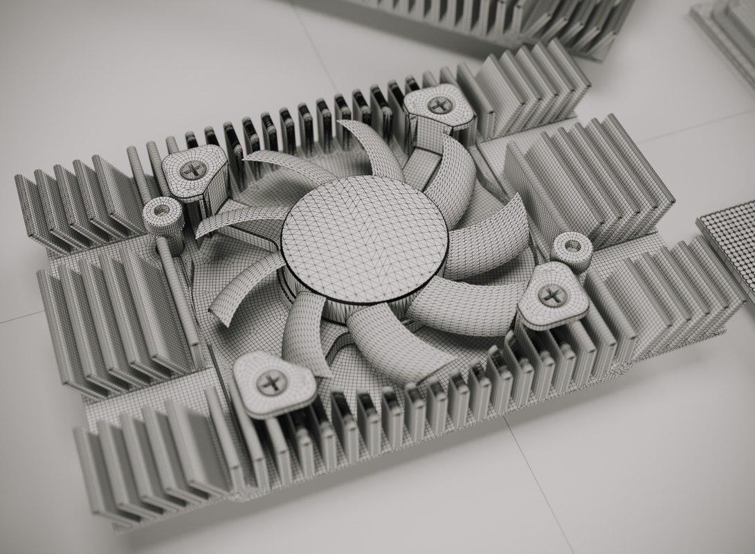 cpu processor heat 3D model