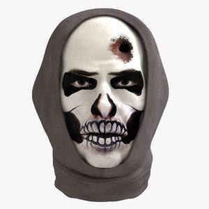 balaclava makeup skull face 3D