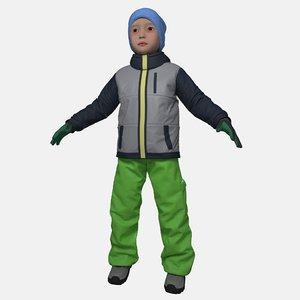 boy winter clothes 3D model