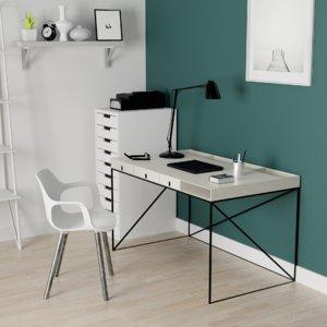 3D interior desk chair