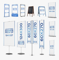 sign banners pack 12 3D model