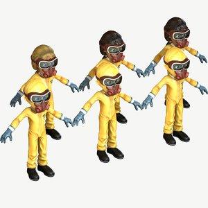3D child girl hazmat suit model