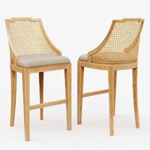 3D classic wooden chair 3 model