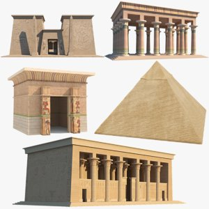 egyptian temples pyramid 3D model