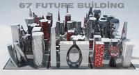 3D modern future building 67 model