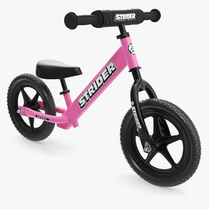 3D kids balance bike pink