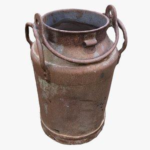 3D model old rusty milkcan