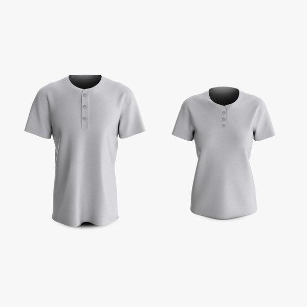 cotton male female t-shirts 3D model