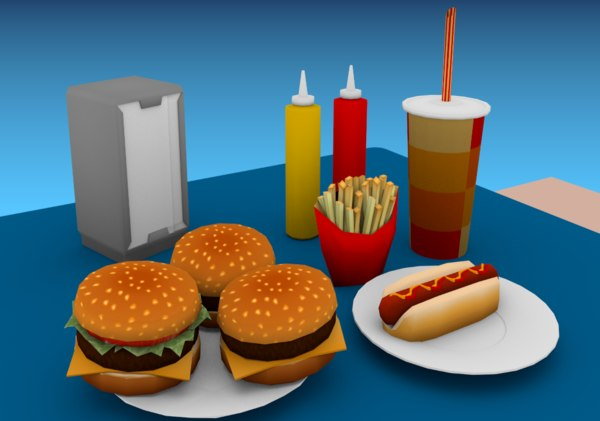 3D fast food props