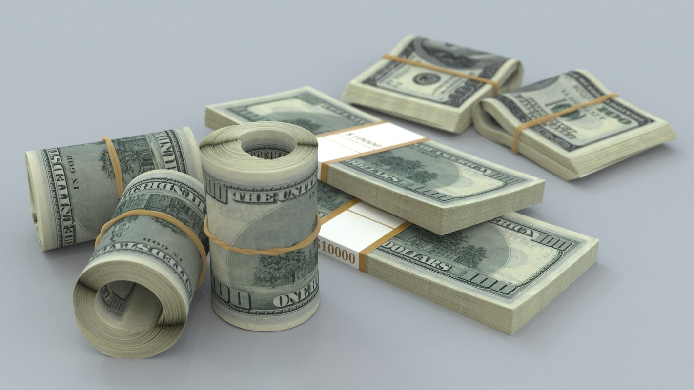 3D banknote bills dollar model