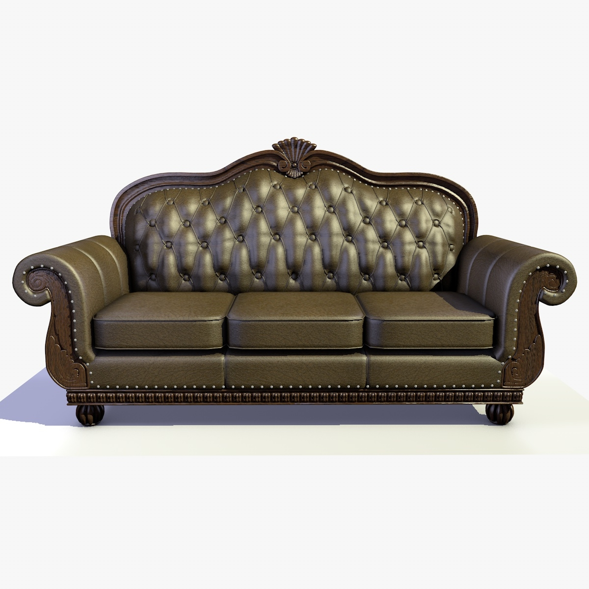 Traditional Solid Wood, Leather And Fabric Chesterfield Sofa 2