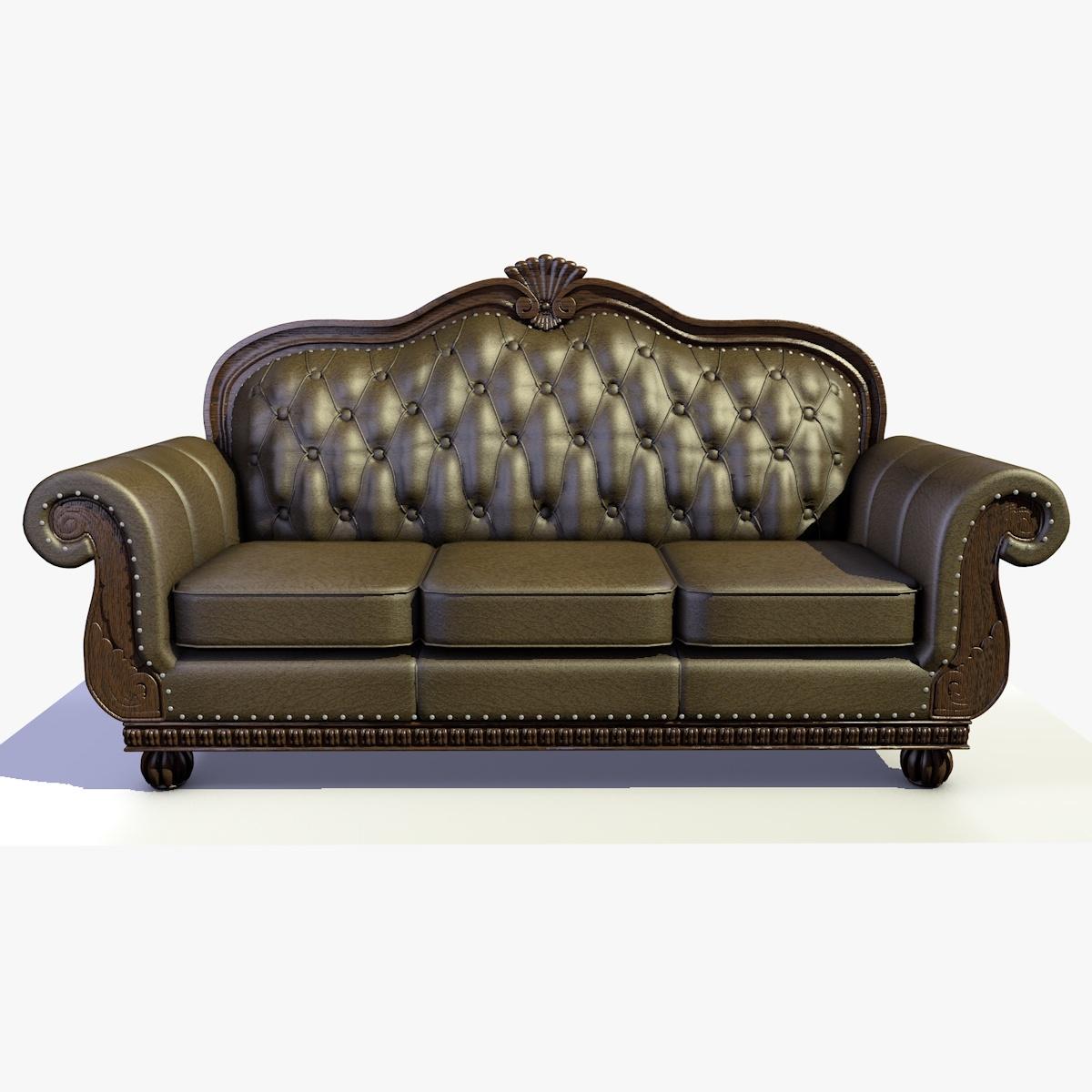 Traditionelles Chesterfield-Sofa aus Massivholz, Leder und Stoff 2