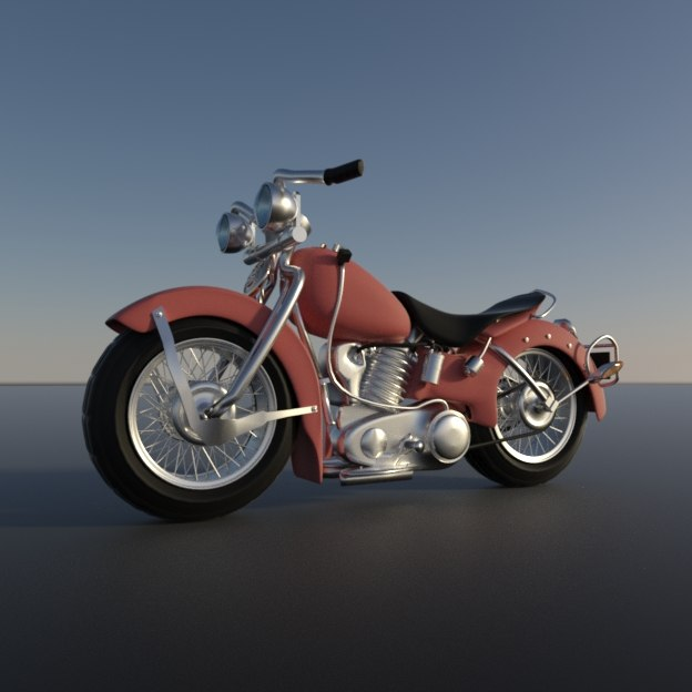 3D old stylized motorcycle model