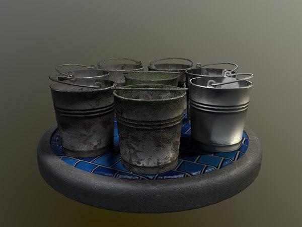 bucket pack 3D model