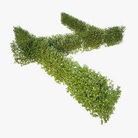 3D wind generic blooming hedge